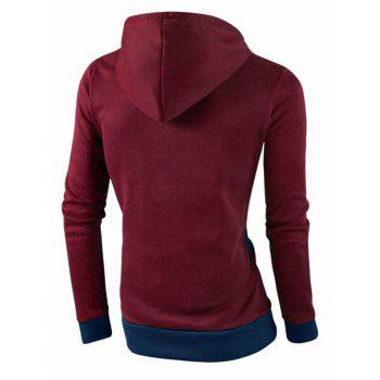IZZUMI Stylish Color Block Spliced Slim Fit Casual Long Sleeve Hoodies For Men - WINE RED XL