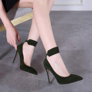 Pointed Toe Flock Ankle Strap Pumps - BLACKISH GREEN 38