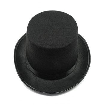 Turnup Brim Magic Felt Top Pure Color Costume Hat - BLACK