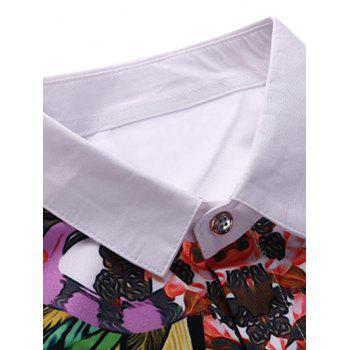 Tournez-Down Collar 3D Feather Colorful Imprimer manches longues - Blanc S