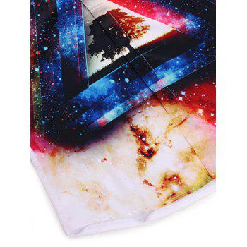 Col rabattu 3D Sky Colorful Starry Imprimer T-shirt à manches longues - Blanc XL