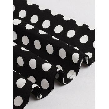 Retro Style Polka Dot Print Dress - BLACK S