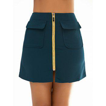 Zipper Simple Skirt For Women - BLACKISH GREEN M