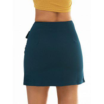 Zipper Simple Skirt For Women - BLACKISH GREEN L