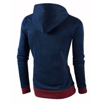 IZZUMI Stylish Color Block Spliced Slim Fit Casual Long Sleeve Hoodies For Men - CADETBLUE L