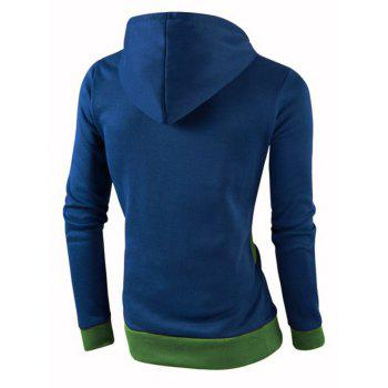 IZZUMI Stylish Color Block Spliced Slim Fit Casual Long Sleeve Hoodies For Men - BLUE 3XL