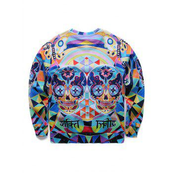 Round Neck Long Sleeve 3D Colorful Skull Print Sweatshirt - COLORMIX XL