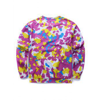 Round Neck Long Sleeve 3D Colorful Camo and Tiger Print Sweatshirt - COLORMIX XL