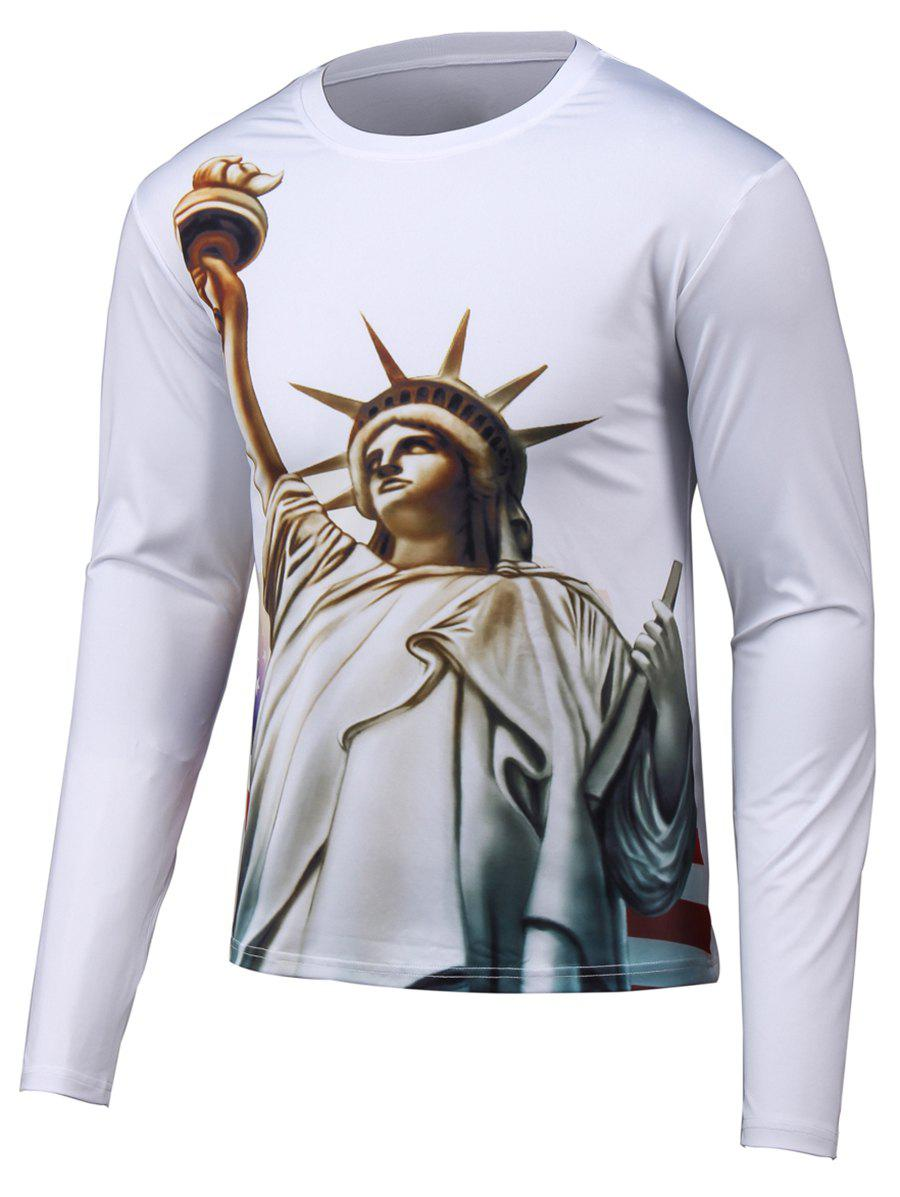 Long Sleeve Round Neck 3D Statue Print T-Shirt - WHITE 2XL