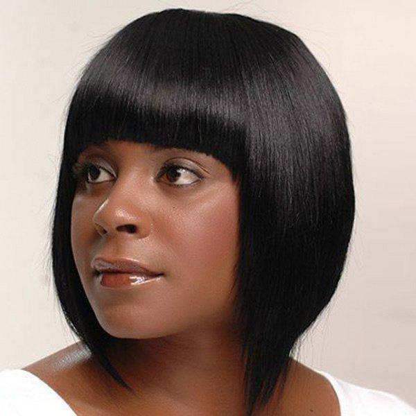 Bob Haircut Short Straight Full Bang Human Hair Capless Wig - JET BLACK