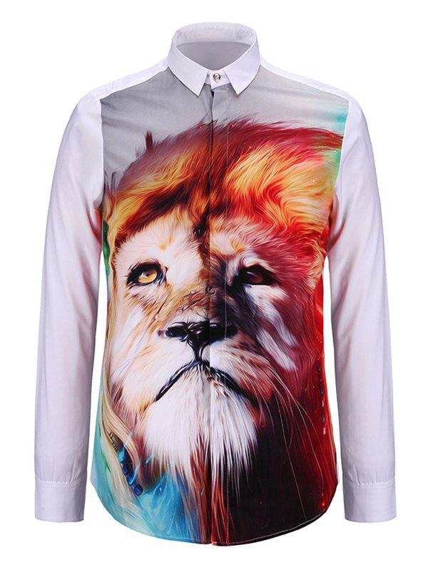 Turn-Down Collar 3D Colorful Lion Print Long Sleeve ShirtMen<br><br><br>Size: S<br>Color: WHITE