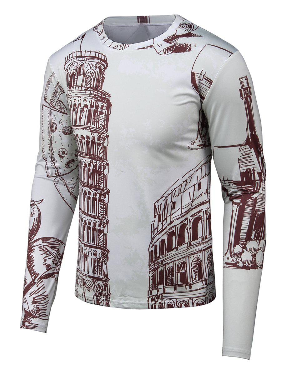 Round Neck Long Sleeve Hand-painted 3D Printed T-ShirtMen<br><br><br>Size: M<br>Color: GRAY