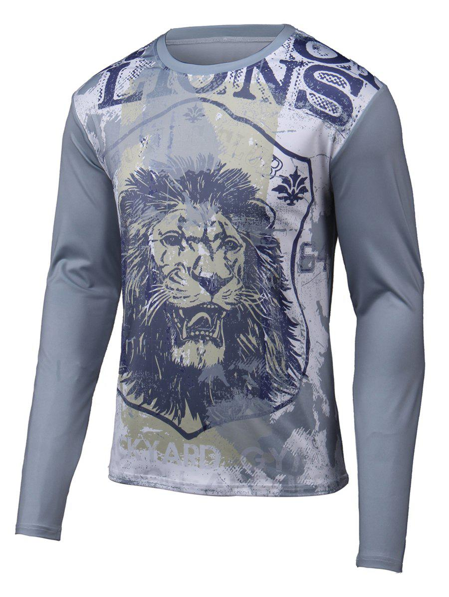 Round Neck Long Sleeve Lion 3D Printed T-Shirt round neck long sleeve lion 3d printed t shirt