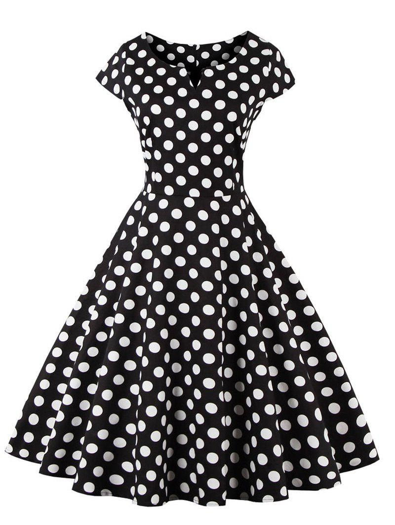 Retro Style Polka Dot Print Dress - BLACK L