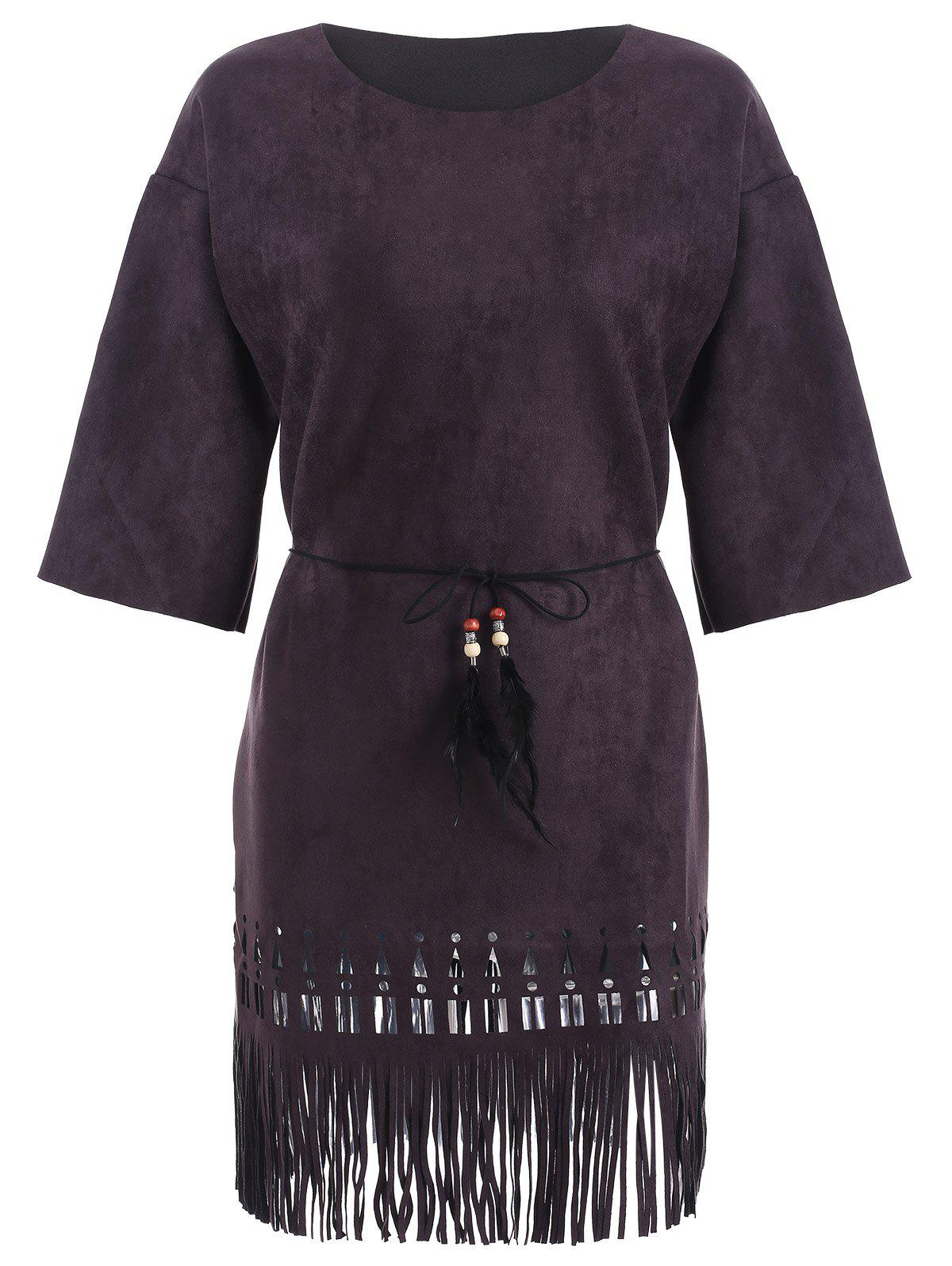Suede Cutout Fringed Dress