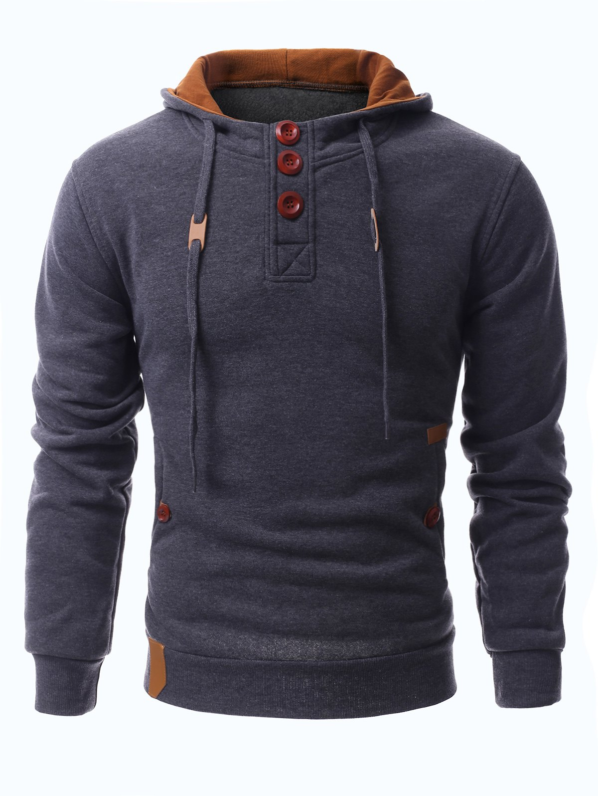 Hooded Drawstring Half Button Up Pullover Hoodie - DEEP GRAY M