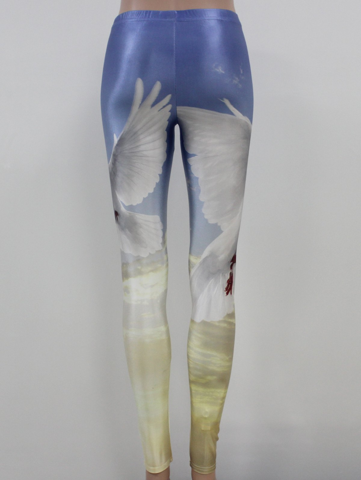 Birds Print Elastic Leggings - AZURE M