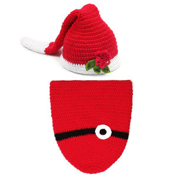 Crochet Photography Knitted Father Christmas Baby Clothes Set  new 2016 autumn winter rompers newborn baby clothes girls boys overalls kids knitted cotton christmas jumpsuits hats sets
