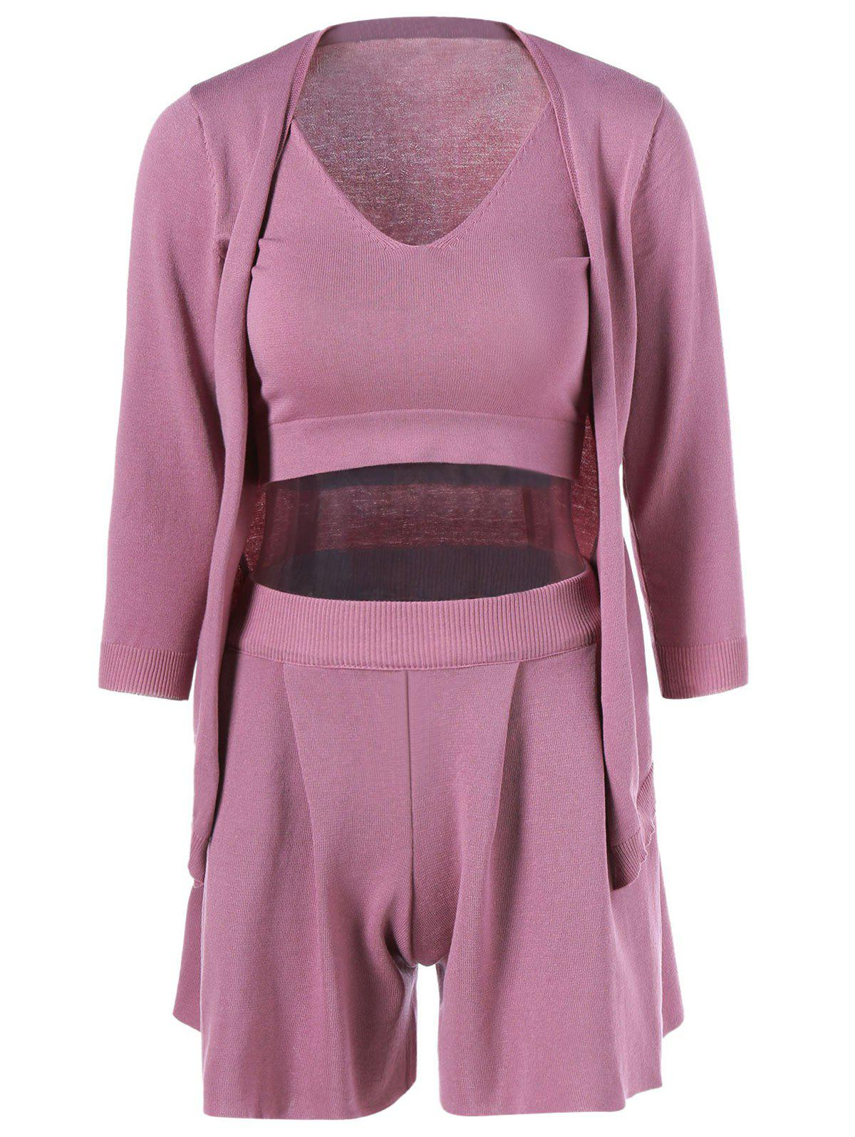 Knit Tank Top + Shorts + Cardigan - PINK ONE SIZE