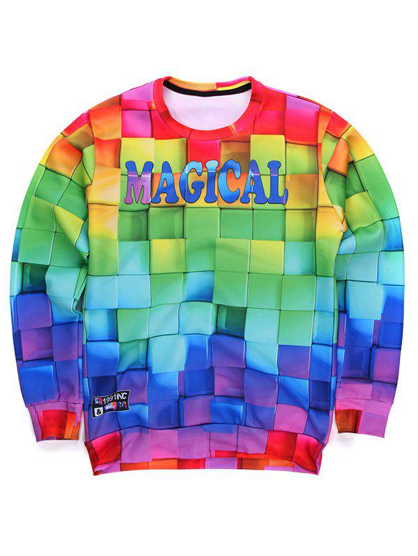 Round Neck Long Sleeve 3D Colorful Cube Print Sweatshirt - COLORMIX L