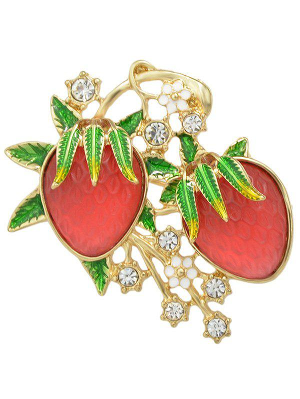 Broche Feuille Fraise strass alliage Floral - Or