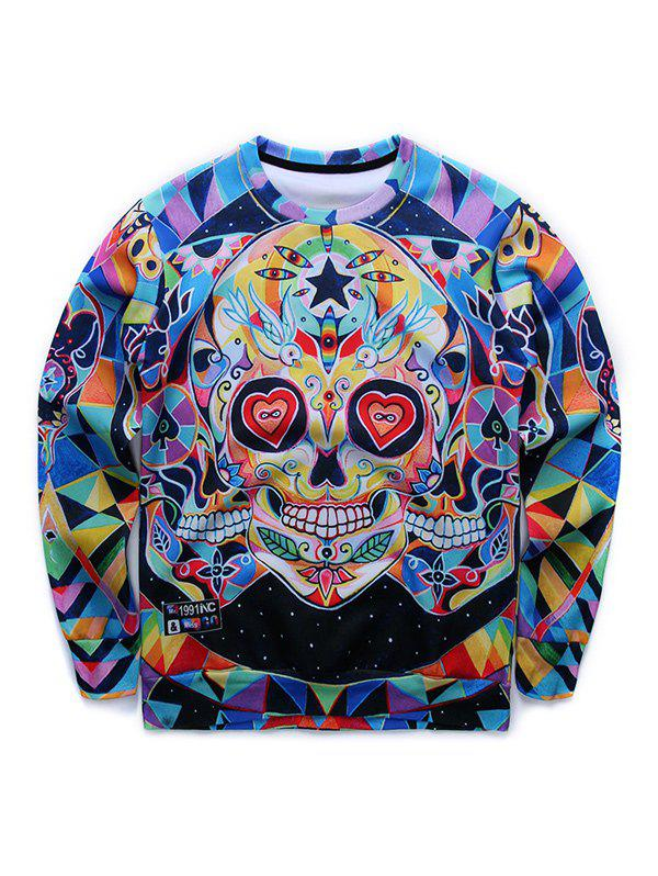 Round Neck Long Sleeve 3D Colorful Skull Print Sweatshirt - COLORMIX M