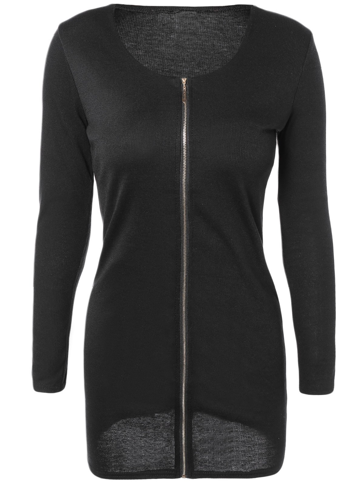 Scoop cou à manches longues Zip-Up Fitting Sweater Dress - Noir S