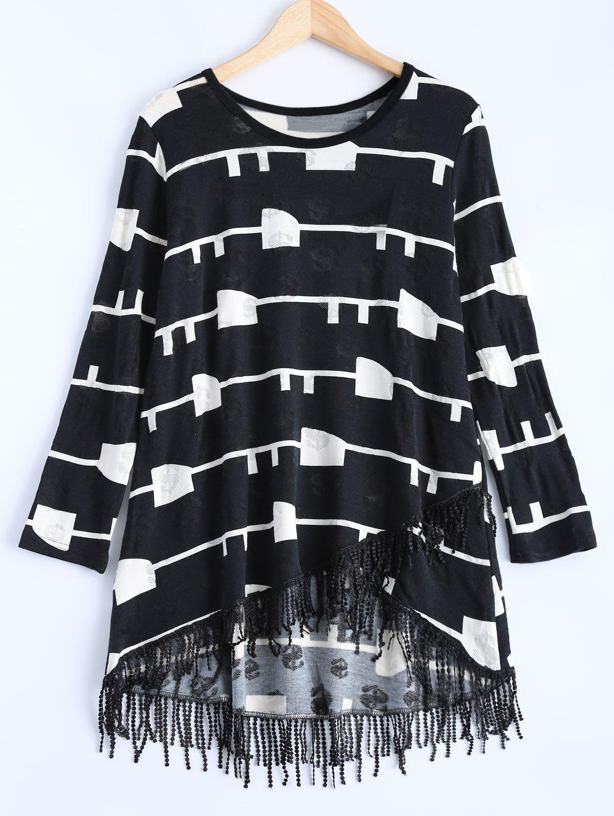 Geometric Pattern Asymmetric Fringed Sweater Dress - BLACK ONE SIZE