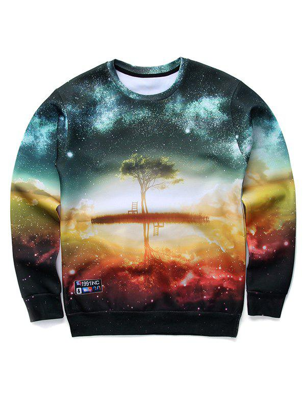 Round Neck Long Sleeve 3D Starry Sky and Tree Print Sweatshirt - COLORMIX S