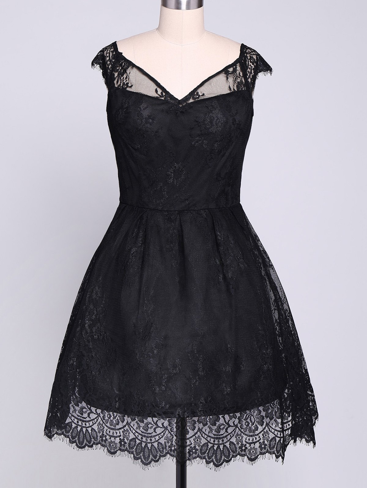 Lace Insert Mini A Line Party Dress - BLACK S