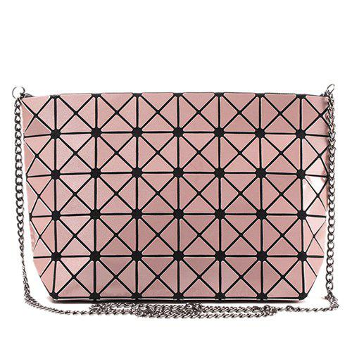 Geometric Pattern Chains Crossbody Bag - PINK