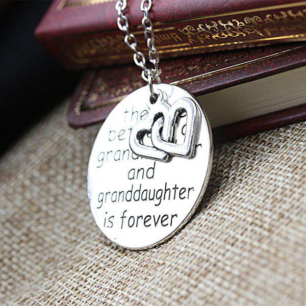 2018 double heart engraved love forever necklace silver in