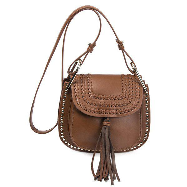 PU Leather Rivet Braid Tassel Crossbody Bag pu tassel design crossbody bag