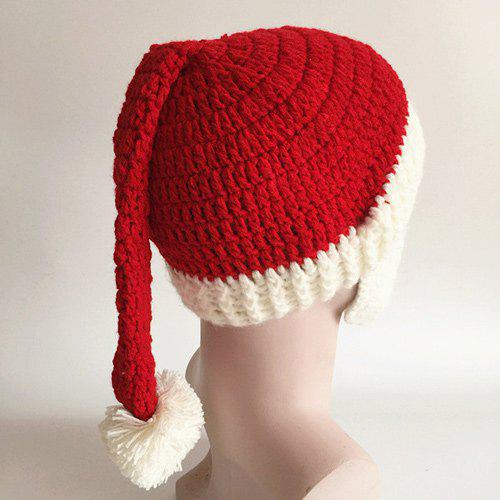 Casual Face Muff Design Christmas Knitted Hat - RED