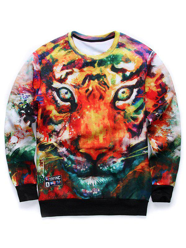 Round Neck 3D Animal Print Long Sleeves Sweatshirt - COLORMIX L