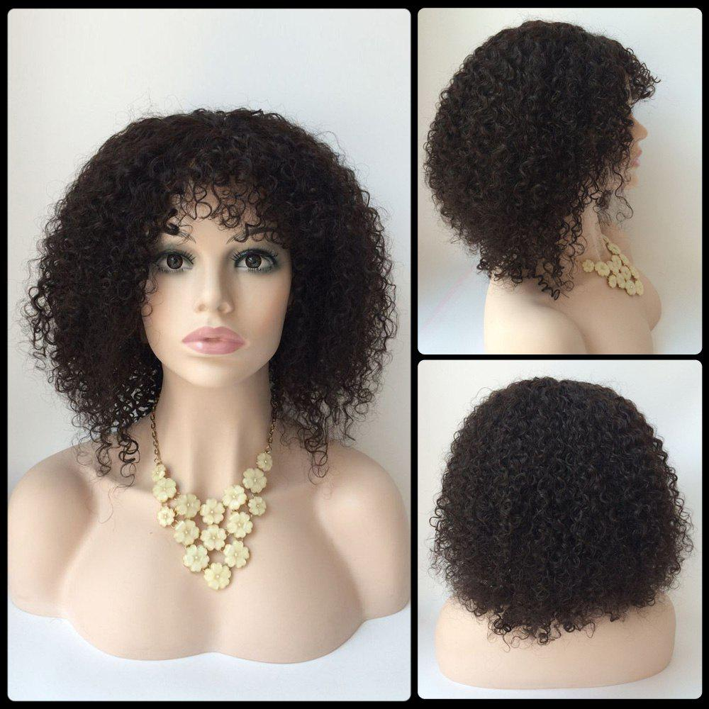 Court Faddish Side Bang Afro Curly Lace Front réel naturel perruque de cheveux - Noir
