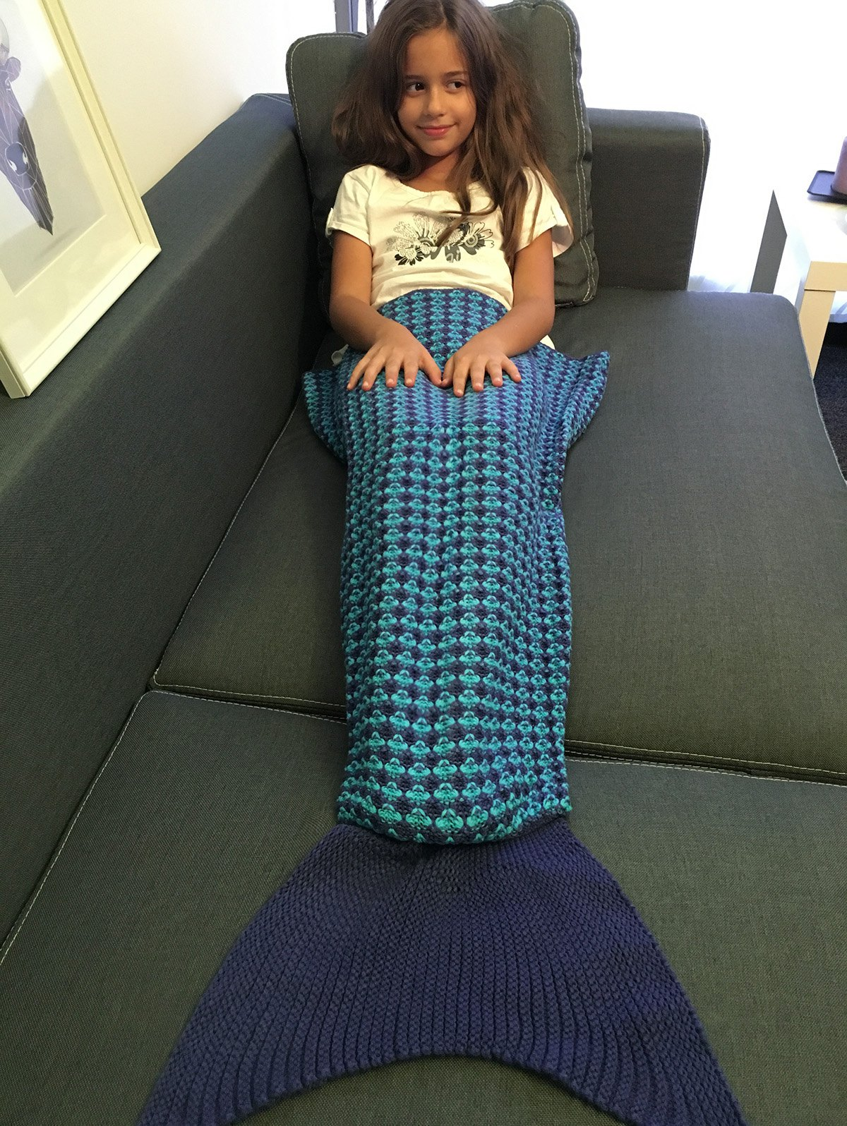Knitting Pattern Fishtail Blanket : Crochet Knitting Stripe Pattern Kids Fish Tail Design Blanket, DEEP BLUE...