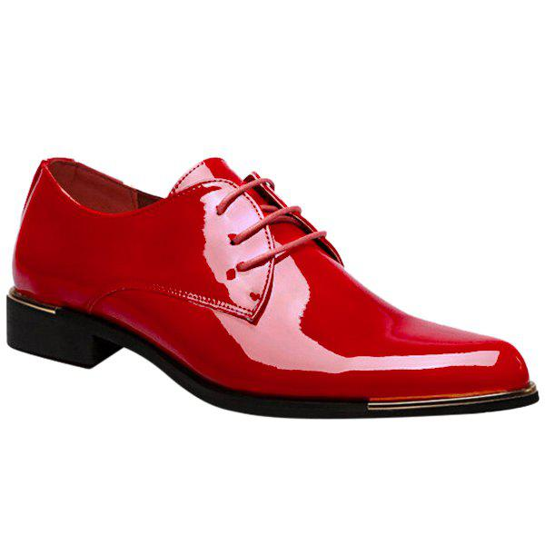 Trendy Patent Leather and Tie Up Design Men's Formal Shoes - RED 42