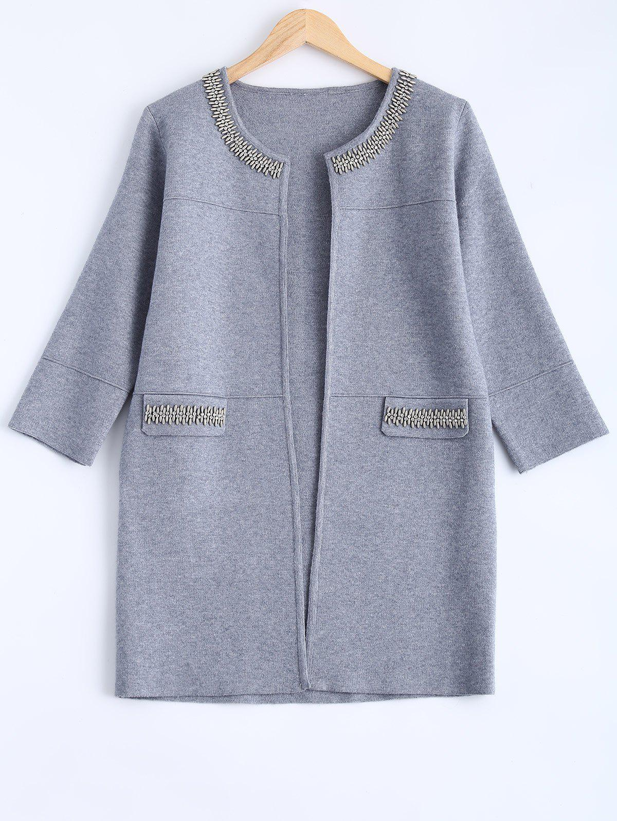 Beading Woolen Long Coat - GRAY ONE SIZE