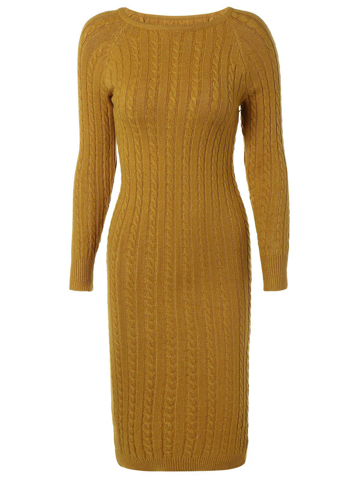 À manches longues en maille torsadée Bodycon Sweater Dress - Jaune ONE SIZE
