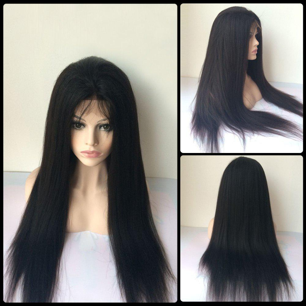Long Lace Front Real Natural Hair Yaki Straight Side Bang Wig - BLACK