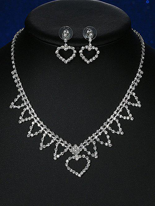 Rhinestoned Triangle Heart Wedding Jewelry Set rhinestoned hollowed wedding jewelry set