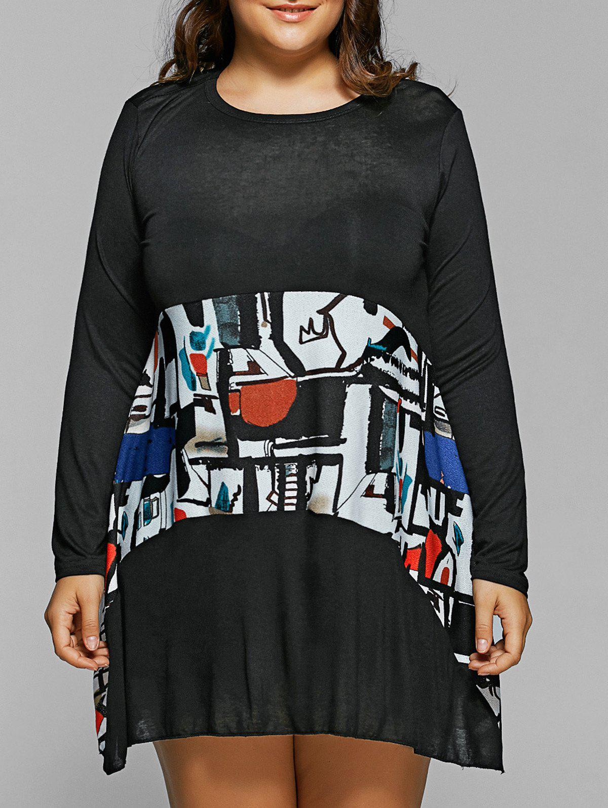 Spliced Abstract Print Loose DressWomen<br><br><br>Size: ONE SIZE<br>Color: BLACK