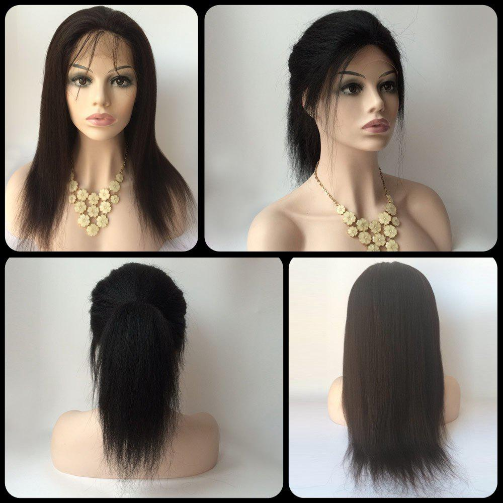 Gorgeous Long Lace Front Real Natural Hair Yaki Straight Side Bang Wig - BLACK