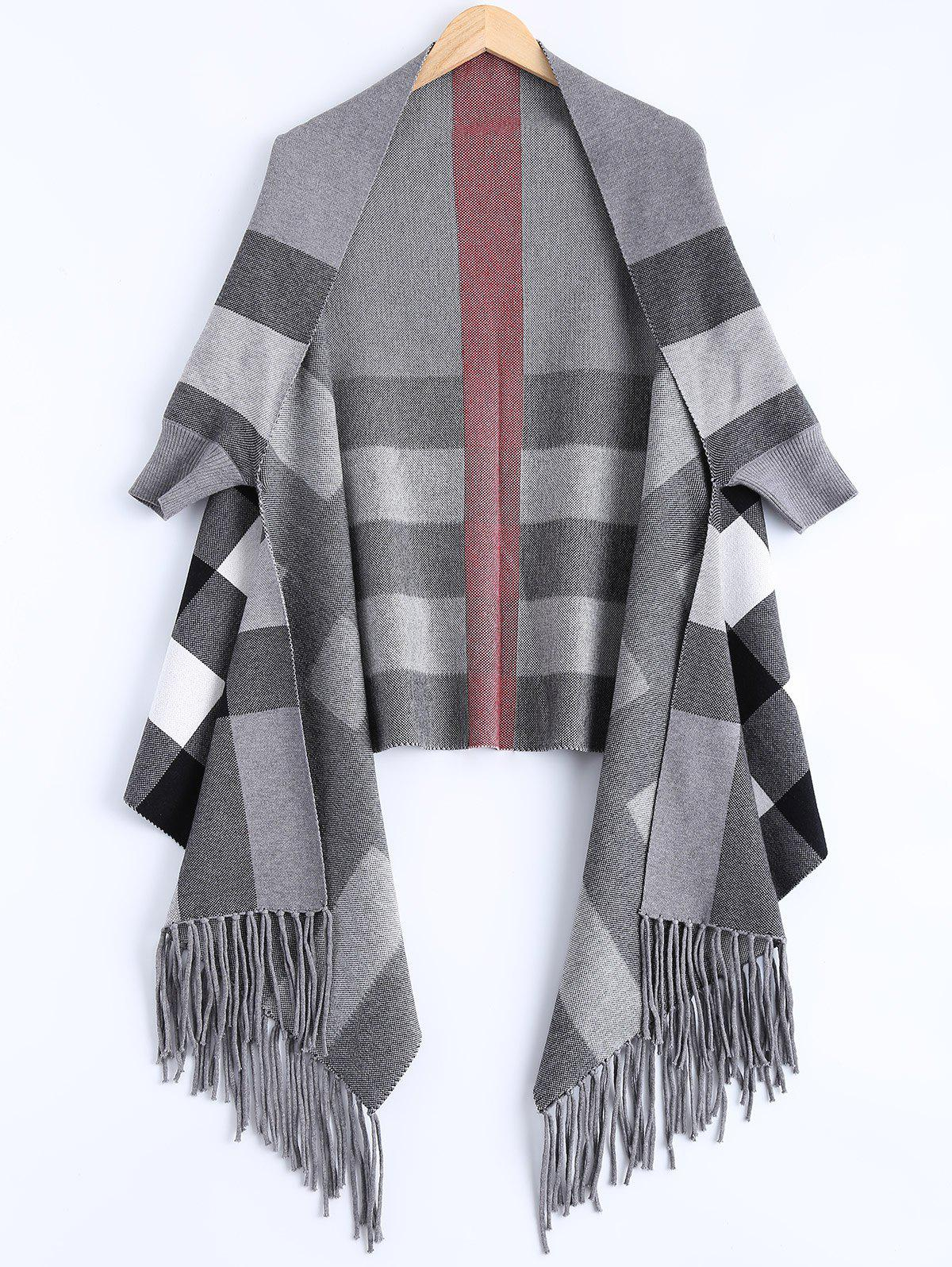 Plaid Asymmetric Tassel CapeWomen<br><br><br>Size: ONE SIZE<br>Color: GRAY