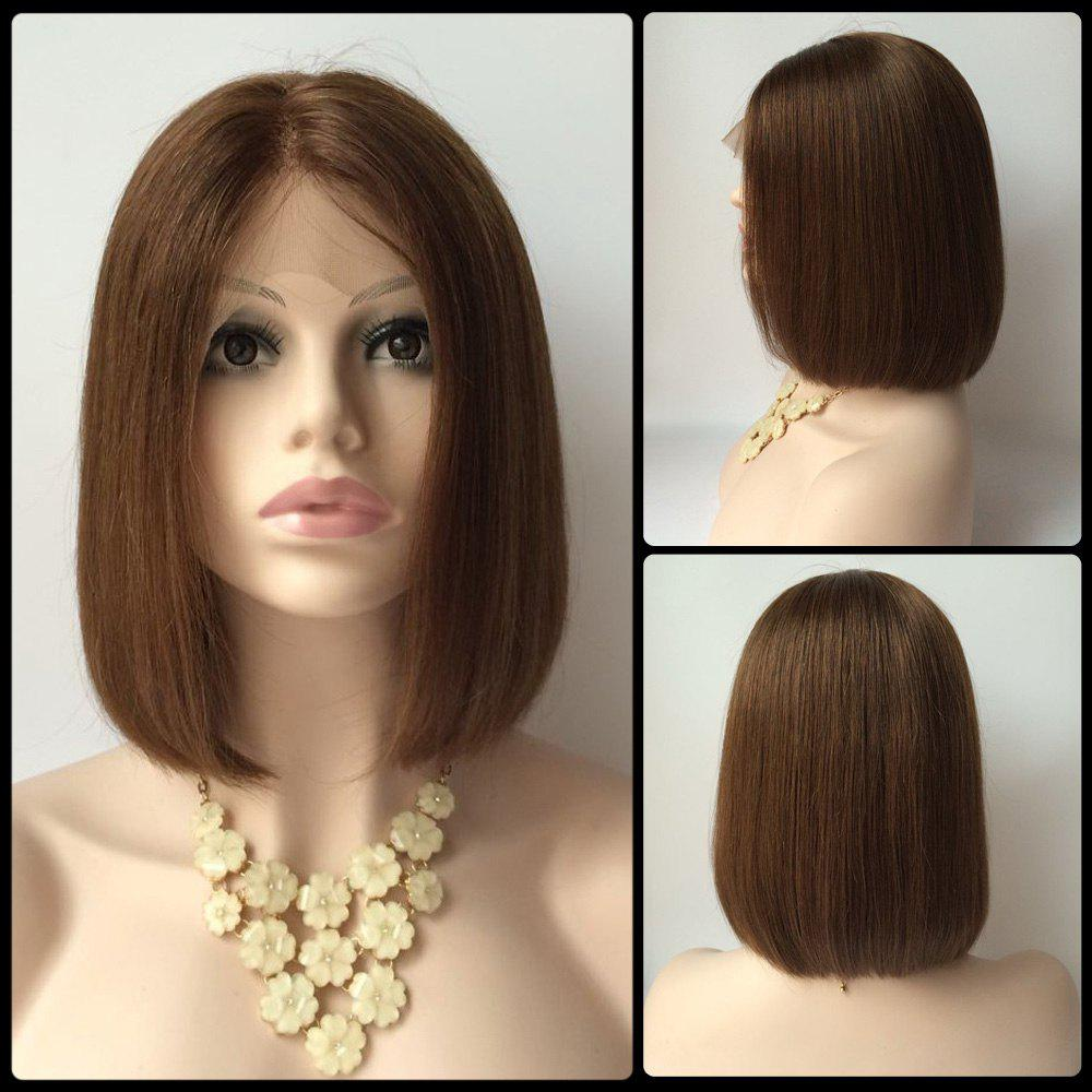 Short Straight Side Parting Lace Front Real Natural Hair Bob - Bob hairstyle on natural hair