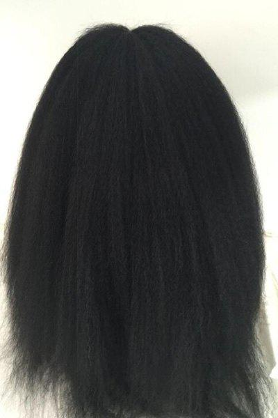 Long Lace Front Real Natural Hair Kinky Straight Middle Part Wig - BLACK