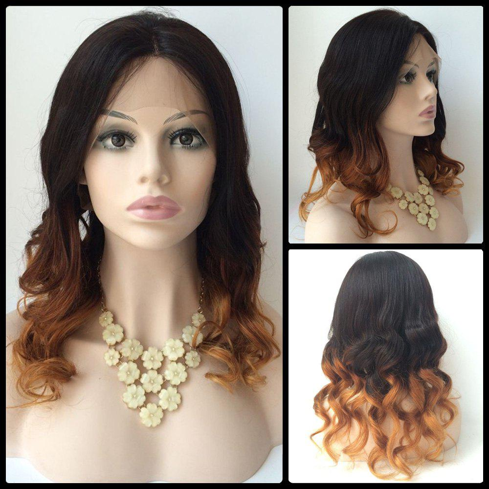 Long Lace Front Real Natural Hair Centre Parting Wavy Double Color Wig n7 1 fashion long body wavy texture jet black color synthetic lace front wig natural looking wigs