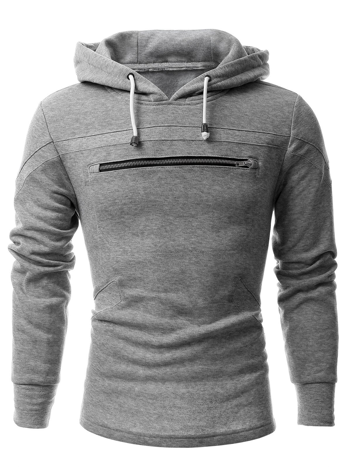 Zippered Paneled Slit Long Sleeve Drawstring Hoodie - GRAY 2XL