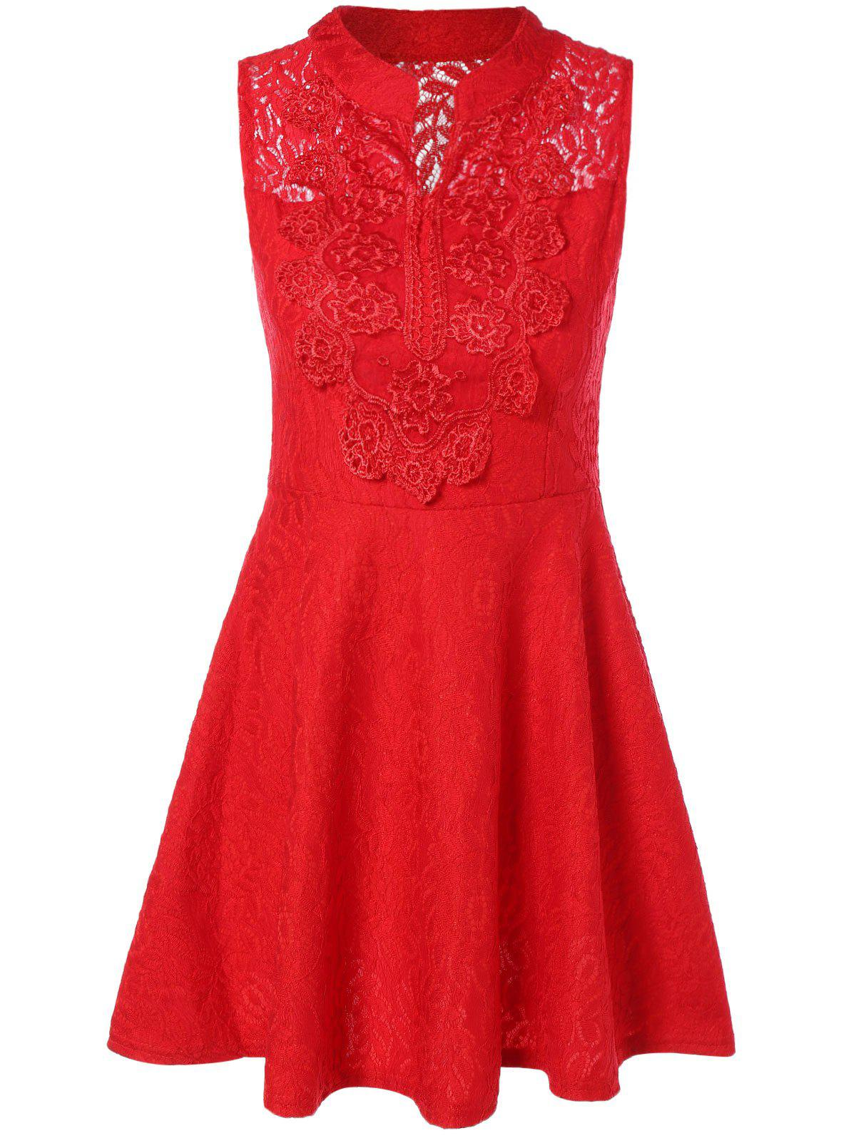 Buy Sleevless Applique Laciness Dress RED